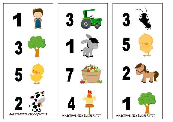 scuola dell'infanzia, classe, sezioni, bambini, maestra, Emily, decorazioni, pannello, maestraemily.blogspot.it, giochi, estate, vacanze, tombola, bingo, cartelle, etsy, fattoria, numeri, cifra, quantità, simbolo numerico,
