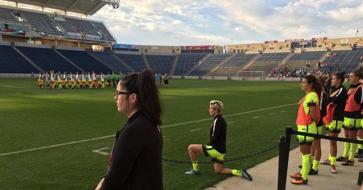 U.S. soccer star Megan Rapinoe kneels during national anthem http://www.nydailynews.com/sports/soccer/u-s-soccer-star-megan-rapinoe-kneels-national-anthem-article-1.2778056
