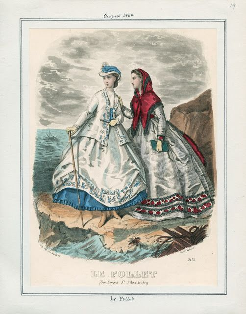 In the Swan's Shadow  Le Follet, August 1864.  LAPL Visual Collections.  Civil War Era Fashion Plate