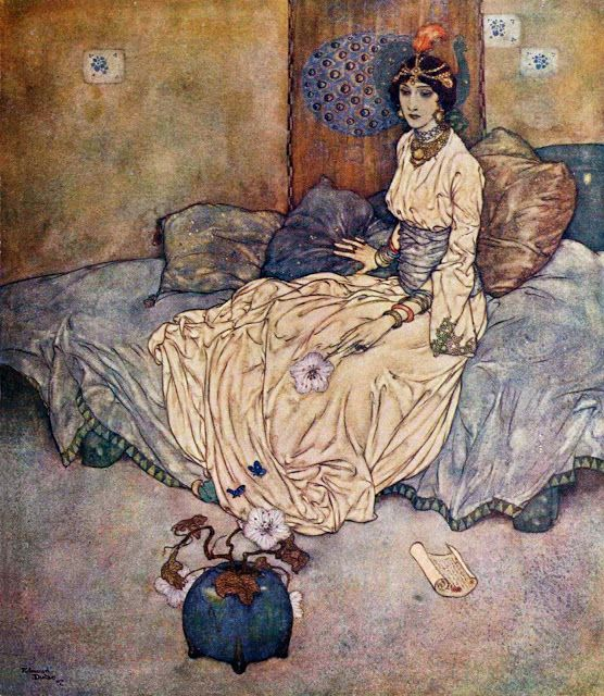 Edmund Dulac (born Edmond Dulac 1882 – 1953) was a French magazine illustrator, book illustrator and stamp designer. Born in Toulouse, France, he began his career by studying law at the University of Toulouse. The Princess Deryabar.: