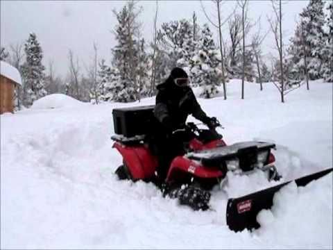 ATV Plowing 3 Feet of Snow: Kawasaki Prairie 400 - YouTube