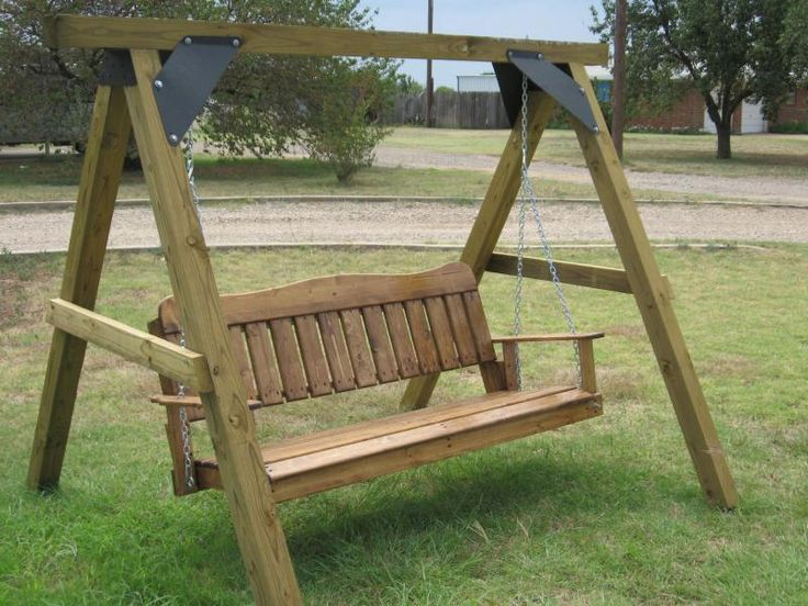Handcrafted wooden swing with stand ok i want it pinterest for Building a swing stand