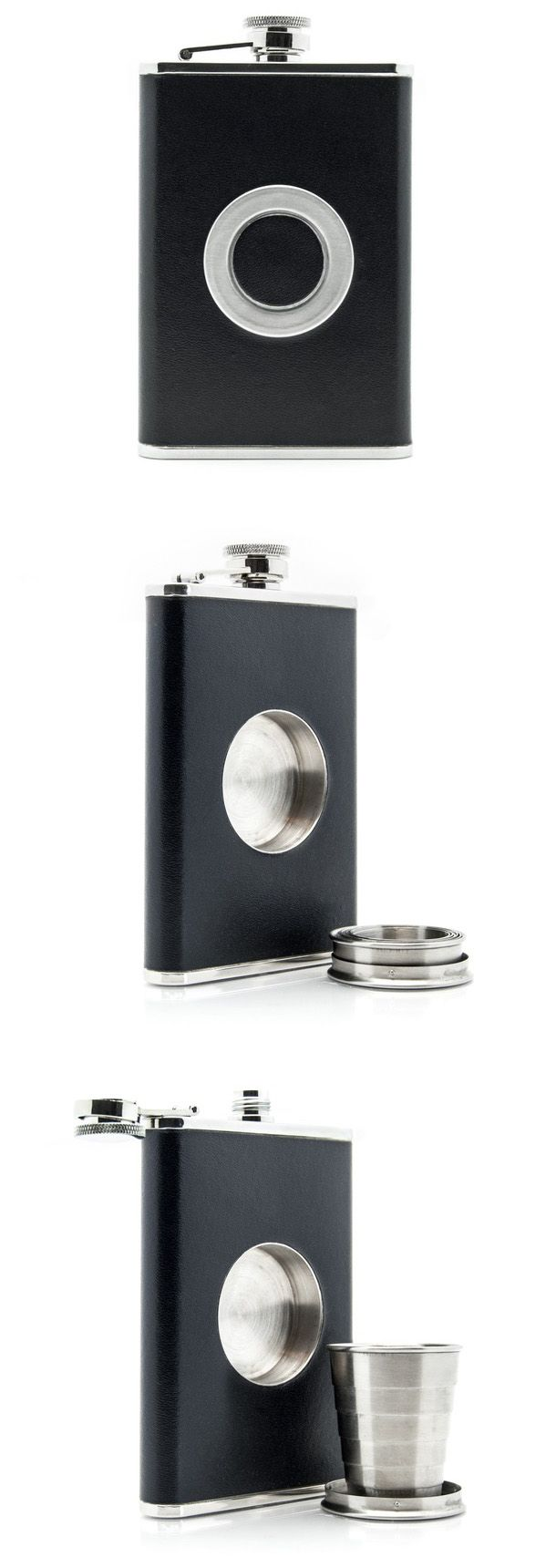 Flask with shot glass - I don't drink but that's super cool.