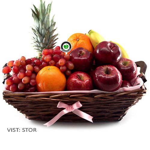 Sunset Pink! This gift basket is decorated with pink colors. Contains delicious fruit like red apples, bananas, oranges, blue grapes and pineapple. Freshly made and delivered to the door in Norway!