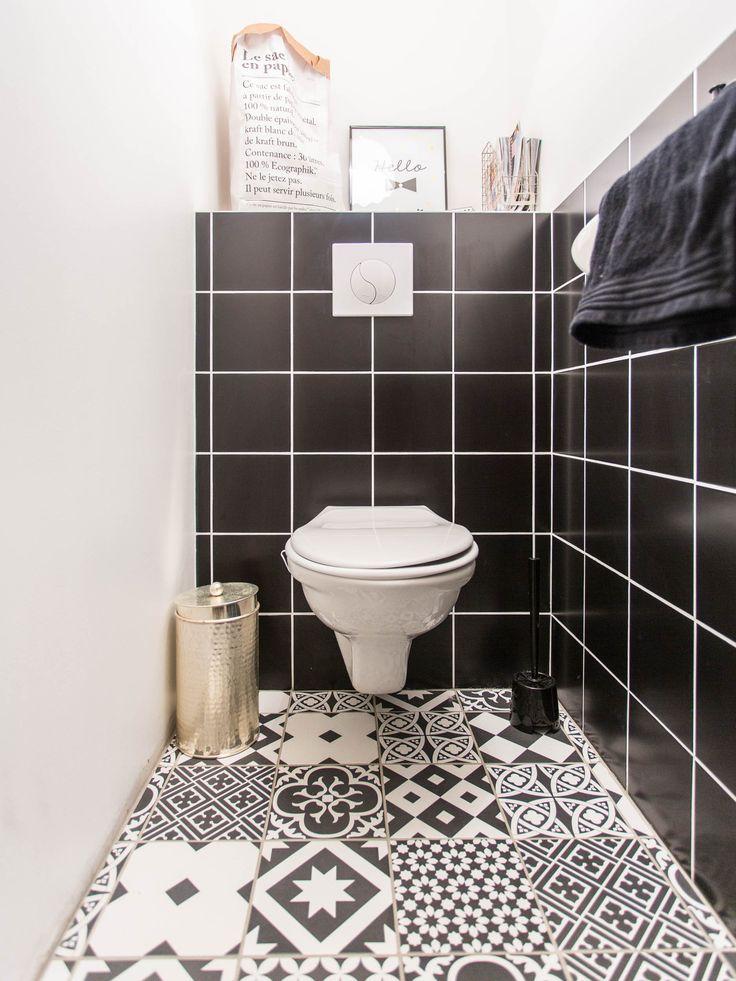 Les 25 meilleures id es de la cat gorie toilette noire sur pinterest salle - Idee carrelage toilette ...