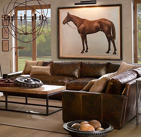 rustic living room... great leather couch, so practical up at the farm with all the dogs