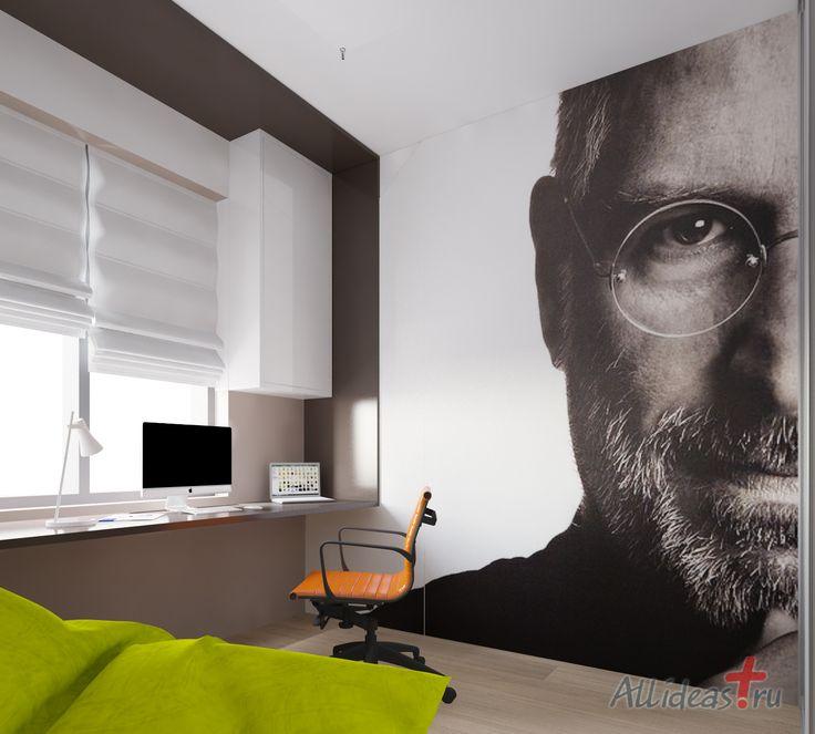 Cabinet with a hovering table top for a computer and a laptop. Small bed. Steve Jobs on the wall. Pass-through gaundry. Кабинет с ломаной парящей столешницей для компьютера и ноутбука. Небольшое спальное место. Стив Джобс на стене. Проходной гаредроб.