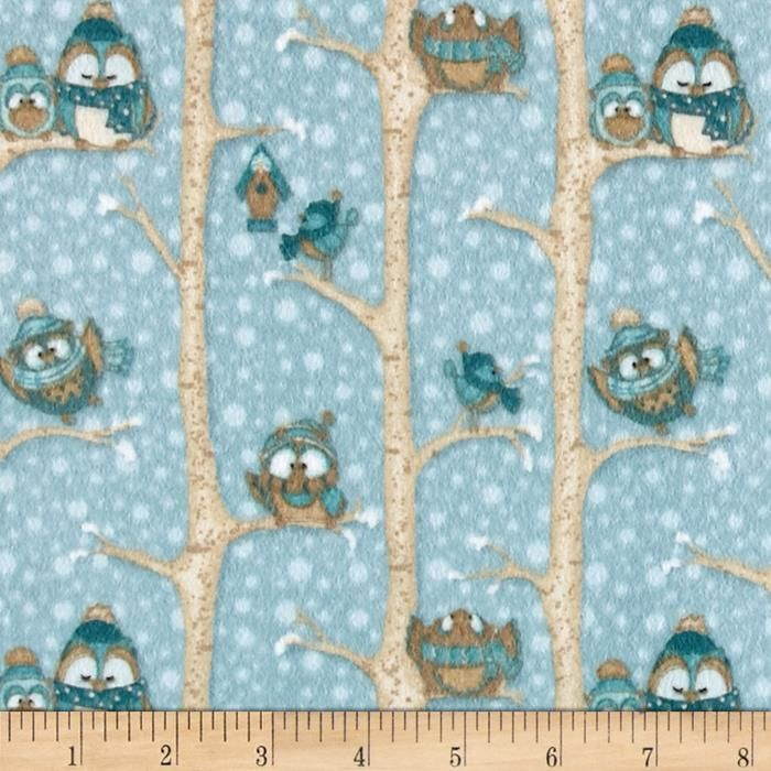 Wise One Flannel Owls in Trees Blue from @fabricdotcom
