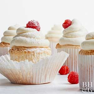 The frosting's marshmallow creme base is fluffier than buttercream. It pairs perfectly with the light angel food cupcakes and tart berry topping.