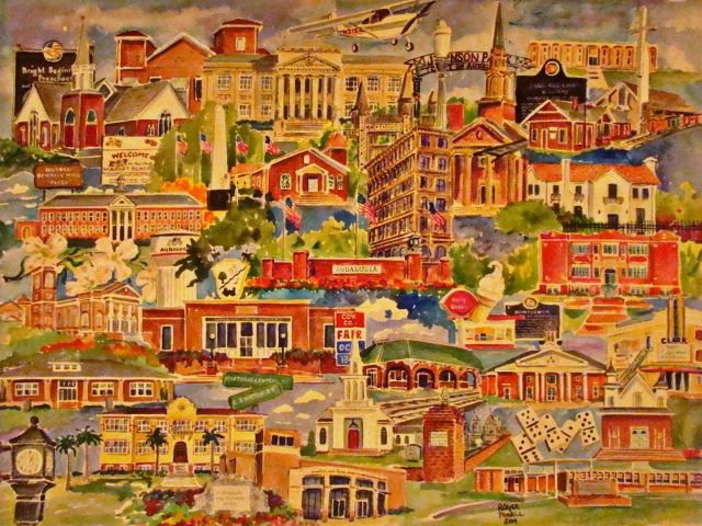 Watercolor print of Andalusia, Alabama, by Roger Powell. This is where all of My People are from. =)