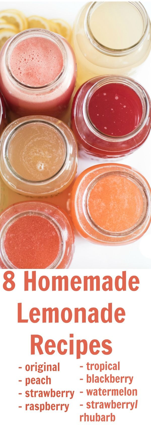 8 different homemade lemonade recipe all in one place! Learn how to make lemonade with fresh lemons or lemon juice in varieties like strawberry lemonade, raspberry lemonade, and even watermelon and tropical lemonade. This post will be your go-to guide for lemonade recipes.