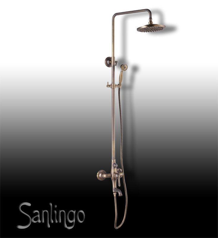 Rainshower Dusche Unterputz : Nostalgie Retro Duschset Dusche Badewanne Kreuzgriff Armatur Sanlingo