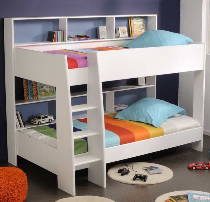 Parker White Wooden Aspace Bunk Bed with Erect Style Stairs and Soft Line Pattern Mattress also Useful Shelving Units for Kids Room Furniture Ideas