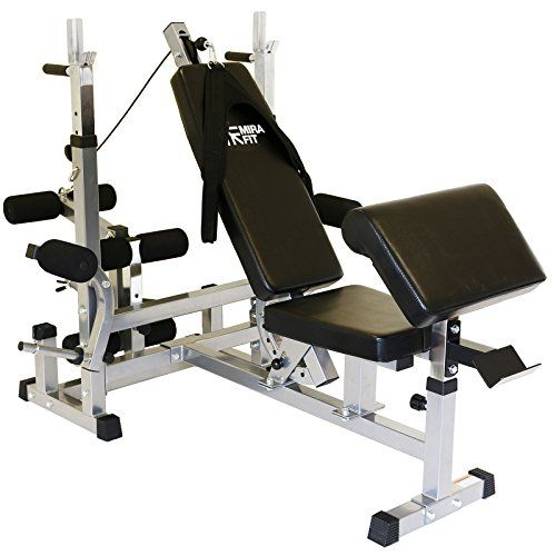 MiraFit Multi Function Gym Weight Bench with Preacher Curl, Butterfly, Leg & Cable Atttachments