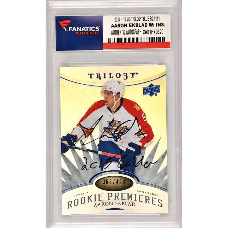 Aaron Ekblad Florida Panthers Fanatics Authentic Autographed 2014-15 Upper Deck Trilogy Blue Rookie #111 Card with 2015 Calder Inscription- Limited Edition of 499
