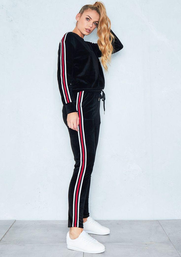 Keisha Black Velour Striped Velvet Loungewear Set $60 Size 10/US6