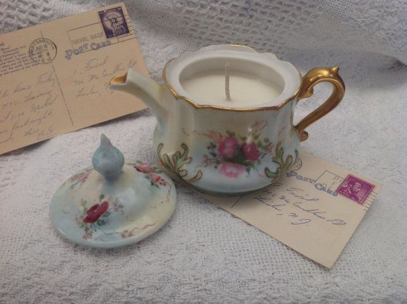 Pretty Floral Bavarian Teapot Candle  Royal by WhoseWoodsAreThese, $28.00