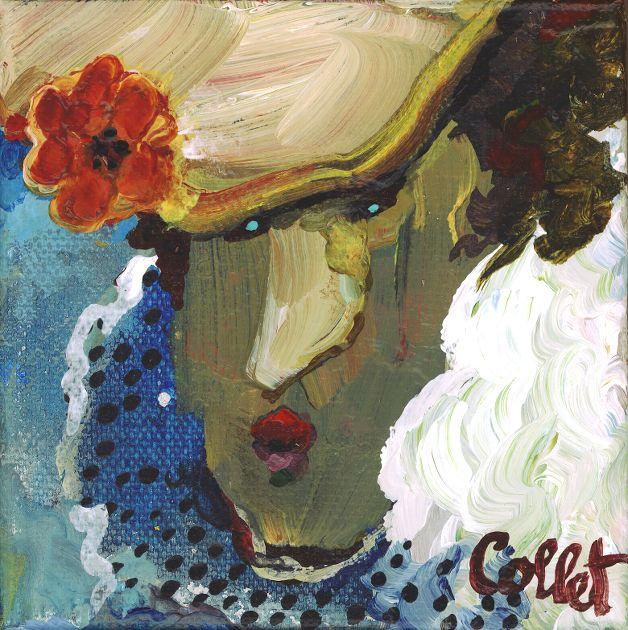 "Woman with green face/La dame au visage vert - Acrylic on canvas - 4"" X 4"""
