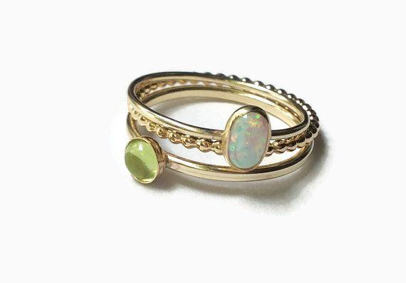 Gouden peridoot ring goud Edelsteen Ringen 14k goud gevuld