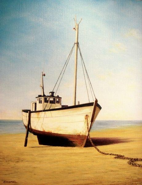 TABLEAU PEINTURE chalutier estran bateau plage Marine Peinture a l'huile  - Repos