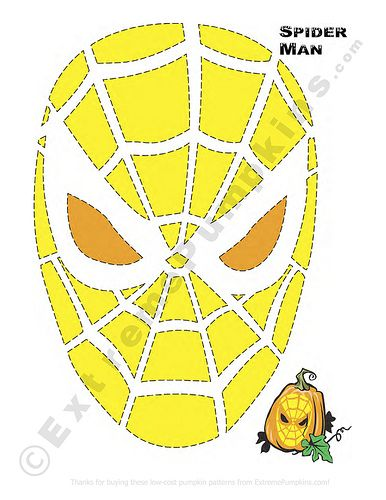 Spiderman pumpkin pattern by Dave L, via Flickr
