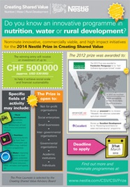 The Nestlé Prize in Creating Share Value, recognises innovation in Water, Nutrition & Rural Development