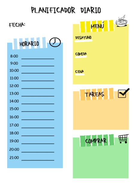 Planificador diario imprimible