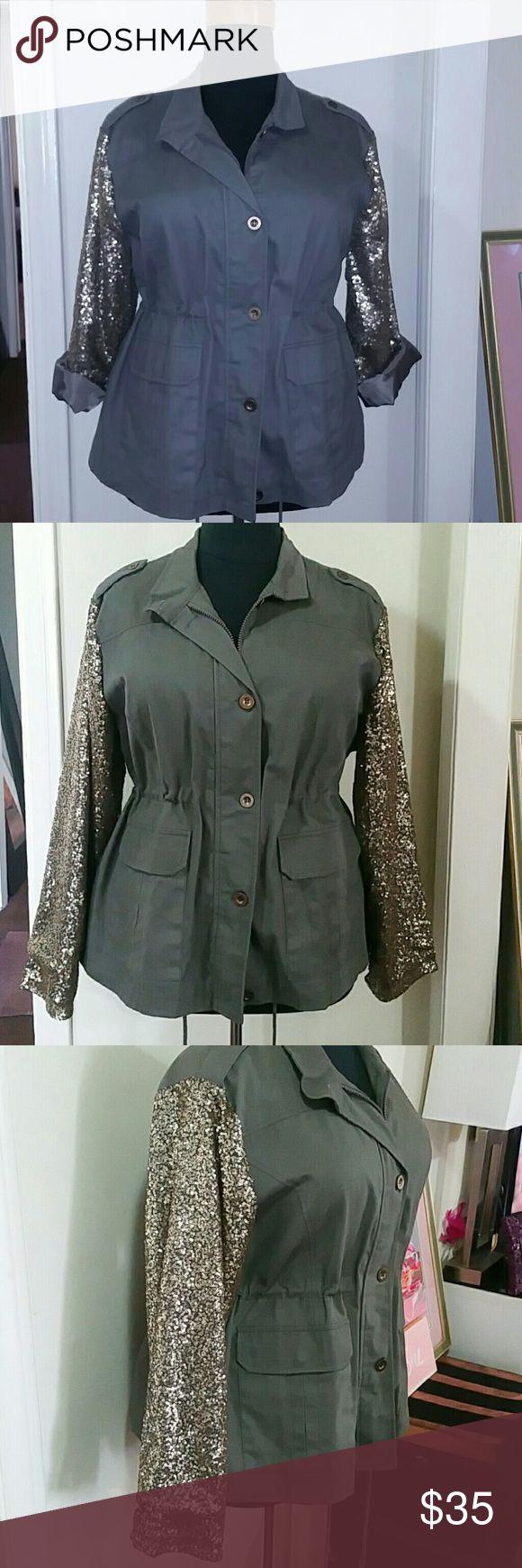 Ashley Stewart Sequin Parker Military green parker jacket with sequin sleeves Ashley Stewart Jackets & Coats