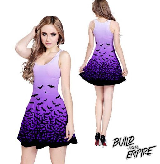 """A must have for any alternative wardrobe! Morticia Addams would be jealous! Bats take wing from skirt hem to waist, this dress is the perfect blend of """"classic goth"""" and """"nu wave pastel goth"""". Availab"""