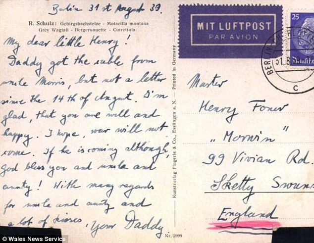 In this poignant postcard sent shortly before Britain declared war on Germany, Max wrote to his son: 'I'm glad that you are well and happy. I hope war will not come.'