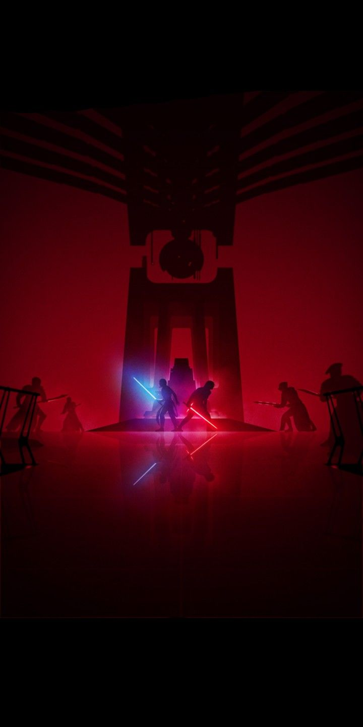 Star Wars Tlj Throne Room Lightsaber Duel By Marco Manev 18 9 Wallpaper Star Wars Wallpaper Star Wars Painting Star Wars Poster