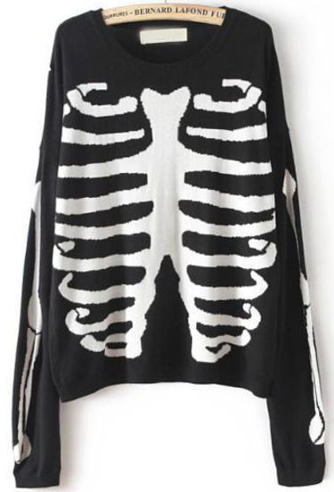 Black Long Sleeve Skeleton Print Knit Sweater pictures