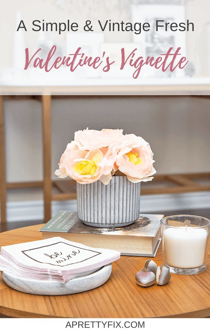 Get some simple, fresh Valentine's Day decorating ideas with this vintage-inspired floral vignette.