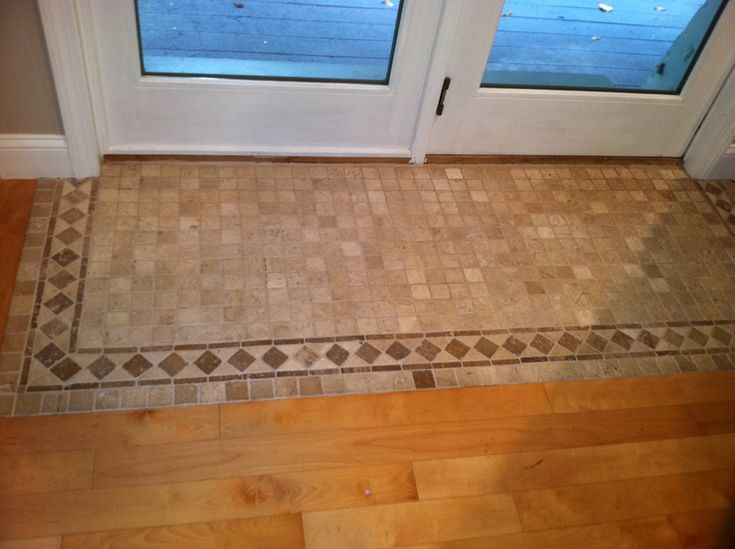 hardwood floor with tile inlay -