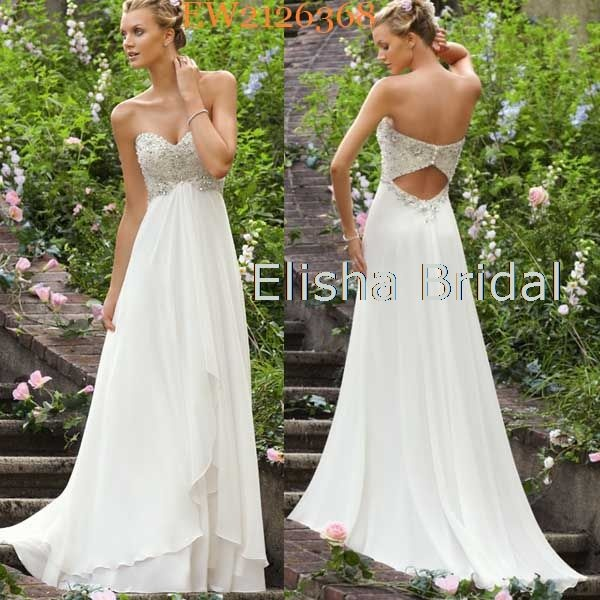 Full length Sweetheart Neckline Crystal Beaded Bodice Cut Out Back Flowing Chiffon Casual Beach Wedding Dresses 2013 Wedding Dress :)Beach Wedding Dress