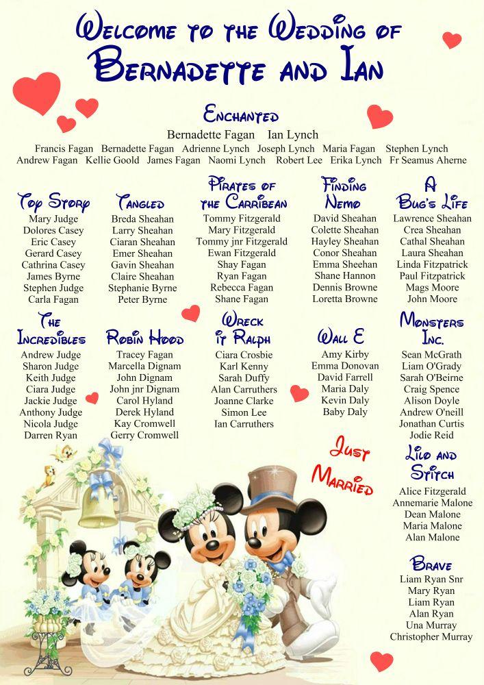 Disney wedding table plan design by www.weddingtableplansireland.com