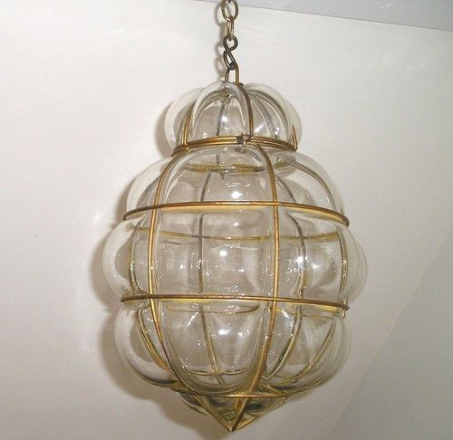 Lampe v nitienne verre souffl et m tal suspension plafonnier lustre art d co - Suspension et lustre ...