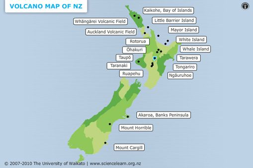 INTERACTIVE MAP - Volcano map of New Zealand -  There are many different types of volcanoes around New Zealand. This map shows where the major volcanoes are, the types of volcanoes and interesting facts such as when they last erupted.