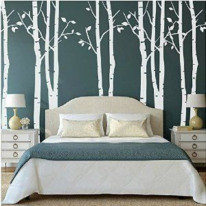 Set of 9 Birch Tree Wall Stickers White Tree Wall Stickers Nursery Big Tree Wall Stickers for Living Room: Amazon.co.uk: Kitchen & Home
