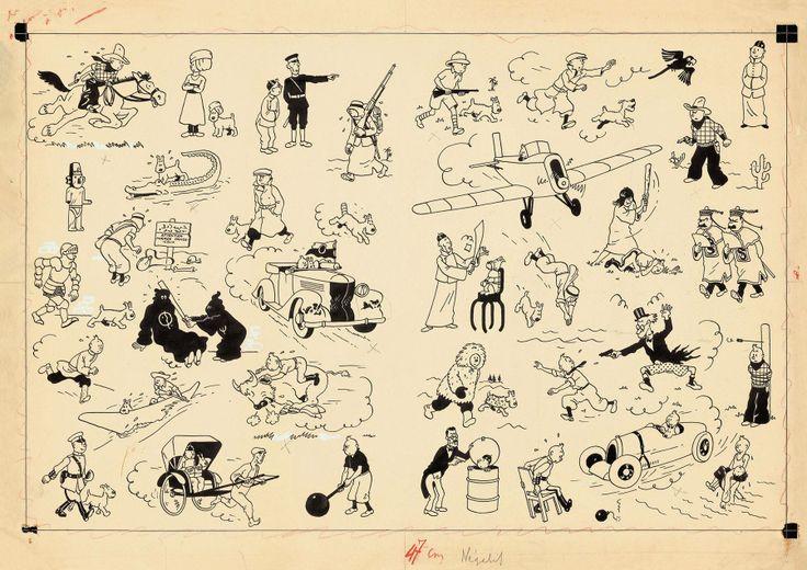 Hergé, schutbladen illustraties voor Kuifje albums.