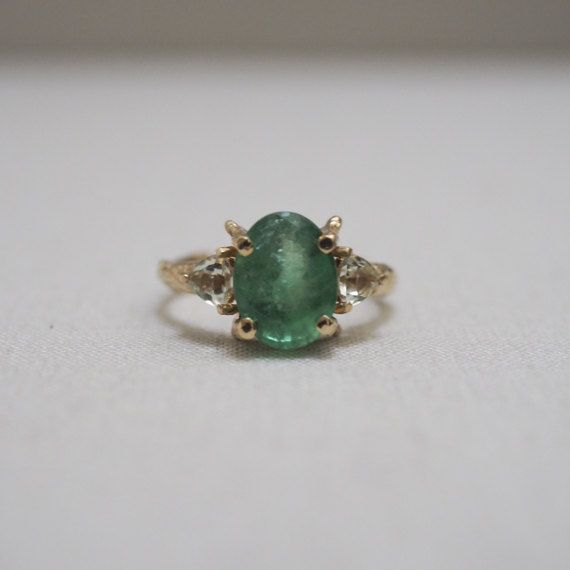 Solid Gold One In a Trillion Emerald & Prasiolite Ring