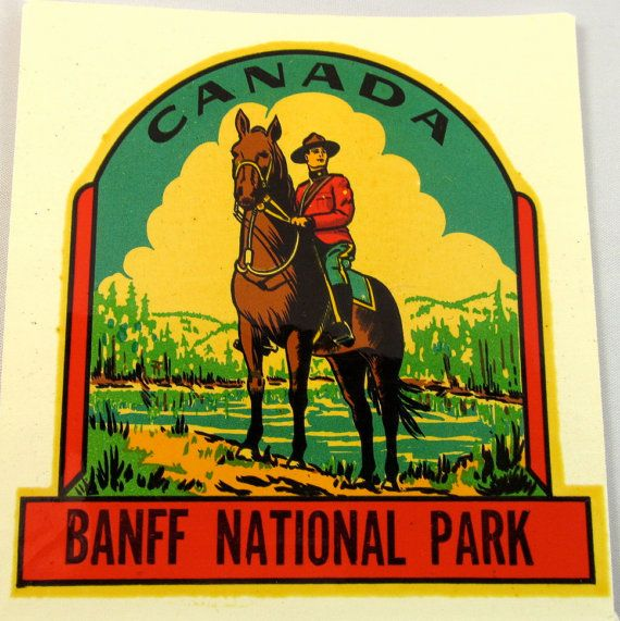 Vintage Souvenir Decal, Banff National Park, Canada