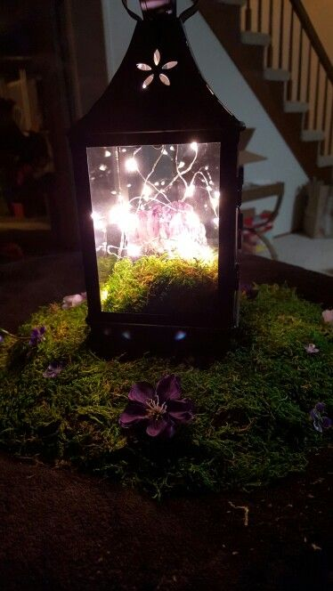 Amethyst and moss fairy lights wedding centerpiece. Purple and green centerpiece, handfasting, LOTR, Ever After, Elvish, Celtic forest, woodland, magical