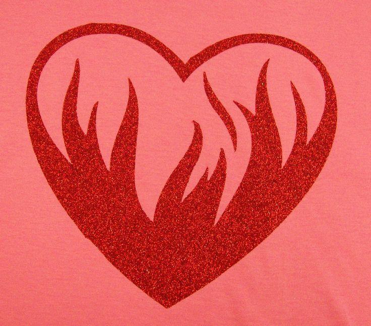 Flaming Heart in red glitter vinyl on an azalea t shirt