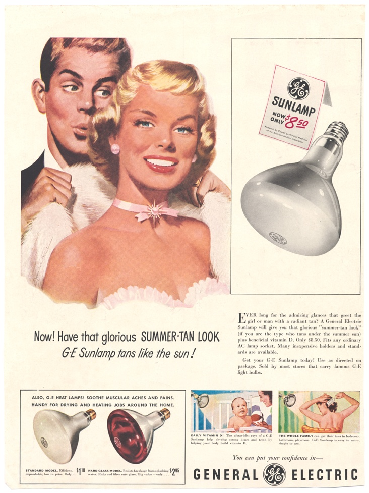 Can you guess which decade this sunlamp advertisement is from?