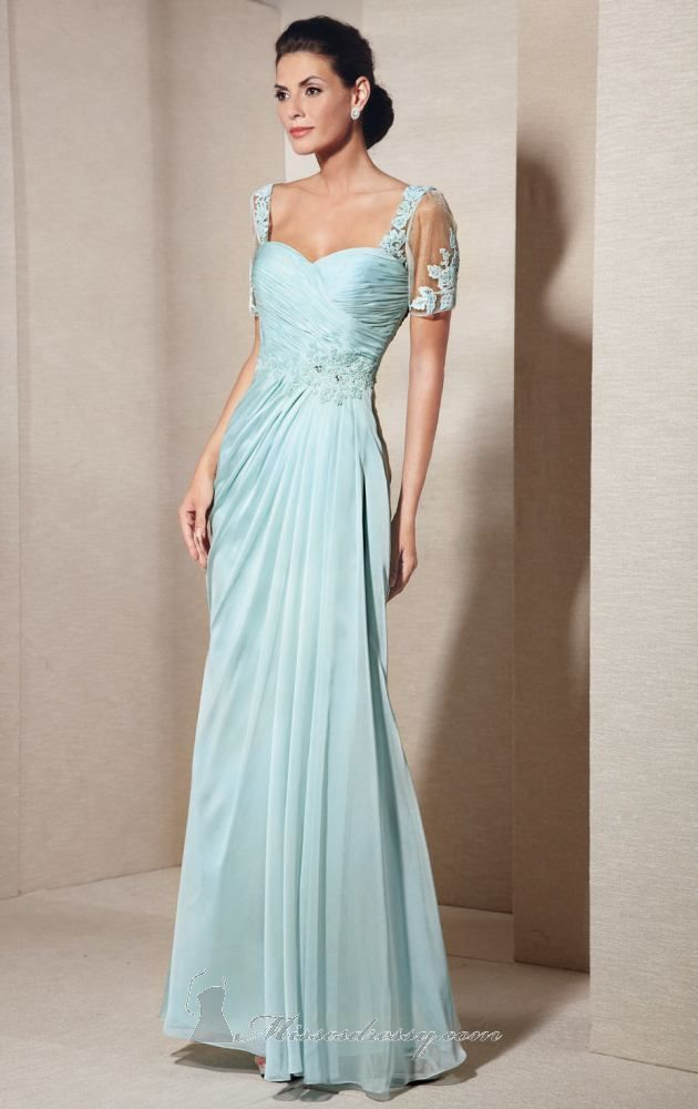Alyce Paris 29580 Dress (http://www.missesdressy.com/short-sleeved-chiffon-gown-alyce-jean-p-30499.html) - MissesDressy.com #wedding #motherofthebride #gown #dress #mob #turuoise #lace #elegant