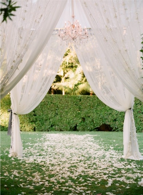 Alter dressed up with pipe and drape. Simple, but oh so elegant!