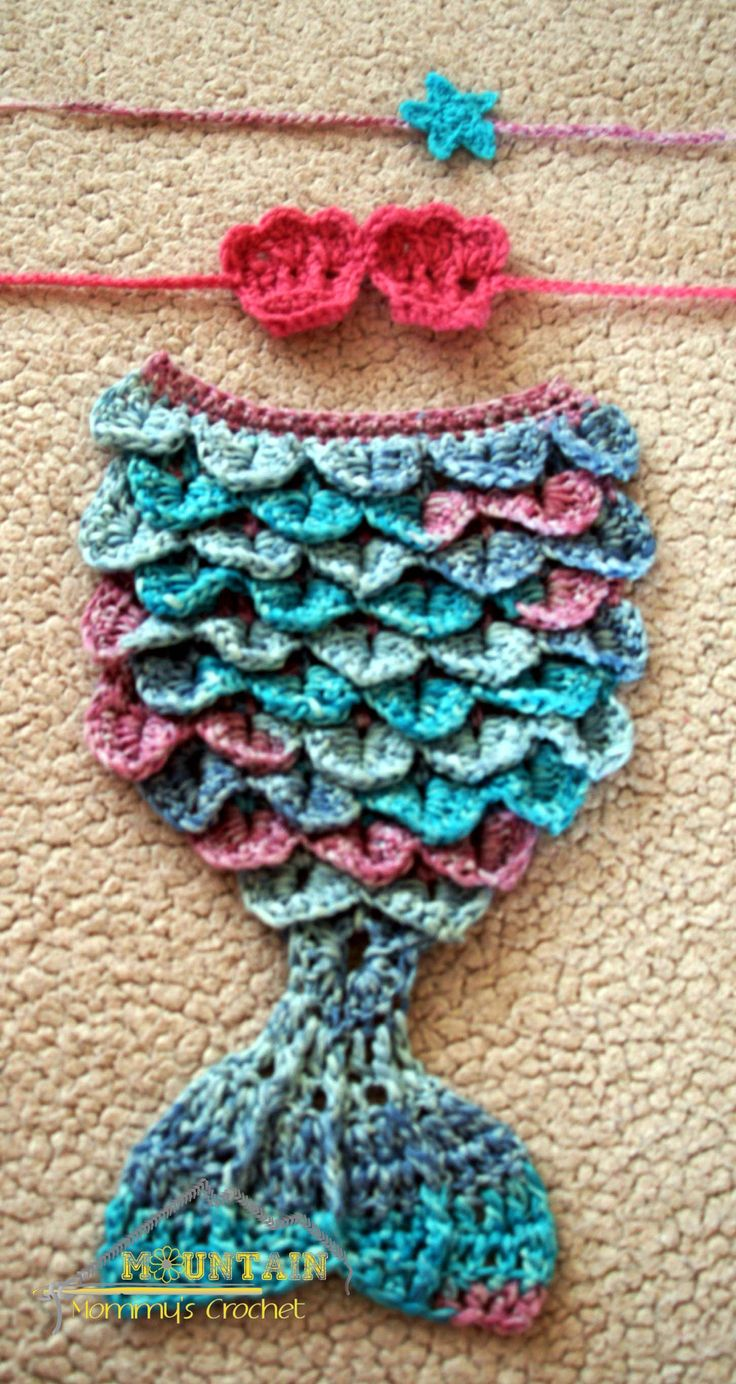 Newborn Crochet Mermaid Cuddle with tail, shell bra and star tieback! Get this only at: www.facebook.com/mountainmommyscrochet