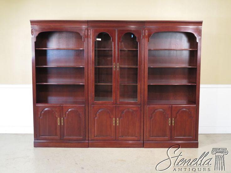 36983: ETHAN ALLEN Georgian Court 3 Piece Cherry Bookcase/Wall Unit