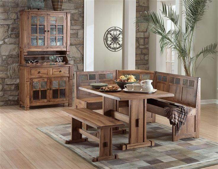 Sunny Designs Sedona Breakfast Nook Set With Side Bench In Rustic Oak